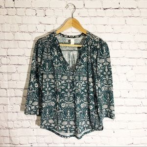 H&M Floral Print Green Blouse size X-Small